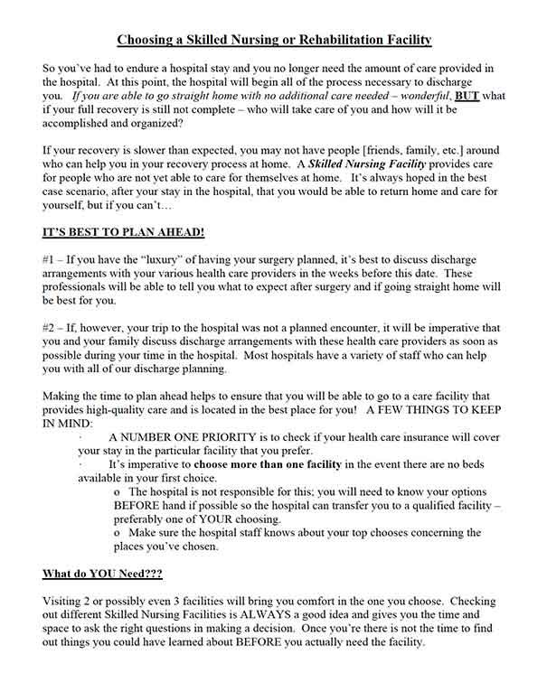 Choosing a Skilled Nursing or Rehabilitation Facility Document from CVLC Senior Ministry   Christus Victor Lutheran Church Naples and Bonita Springs