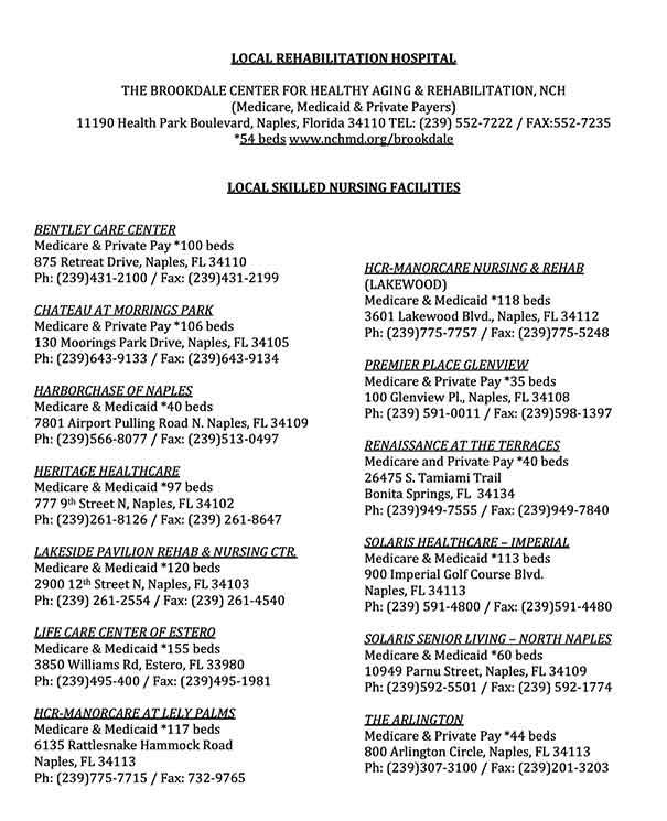 Local Rehabilitation and Skilled Nursing Facility List from CVLC Senior Ministry   Christus Victor Lutheran Church Naples and Bonita Springs
