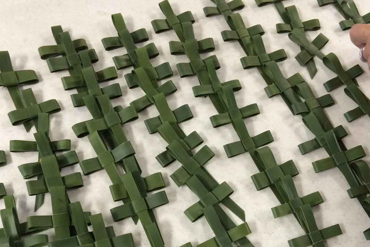 Finished palm crosses at making of palm crosses event | Events at Christus Victor Lutheran Church Naples & Bonita Springs