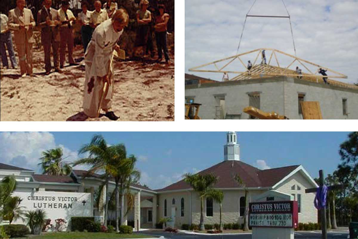 Collage of CVLC ground breaking and construction   Christus Victor Lutheran Church Naples & Bonita Springs