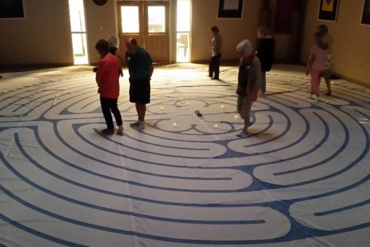 Senior Ministry members in maze activity at CVLC   Christus Victor Lutheran Church Naples & Bonita Springs