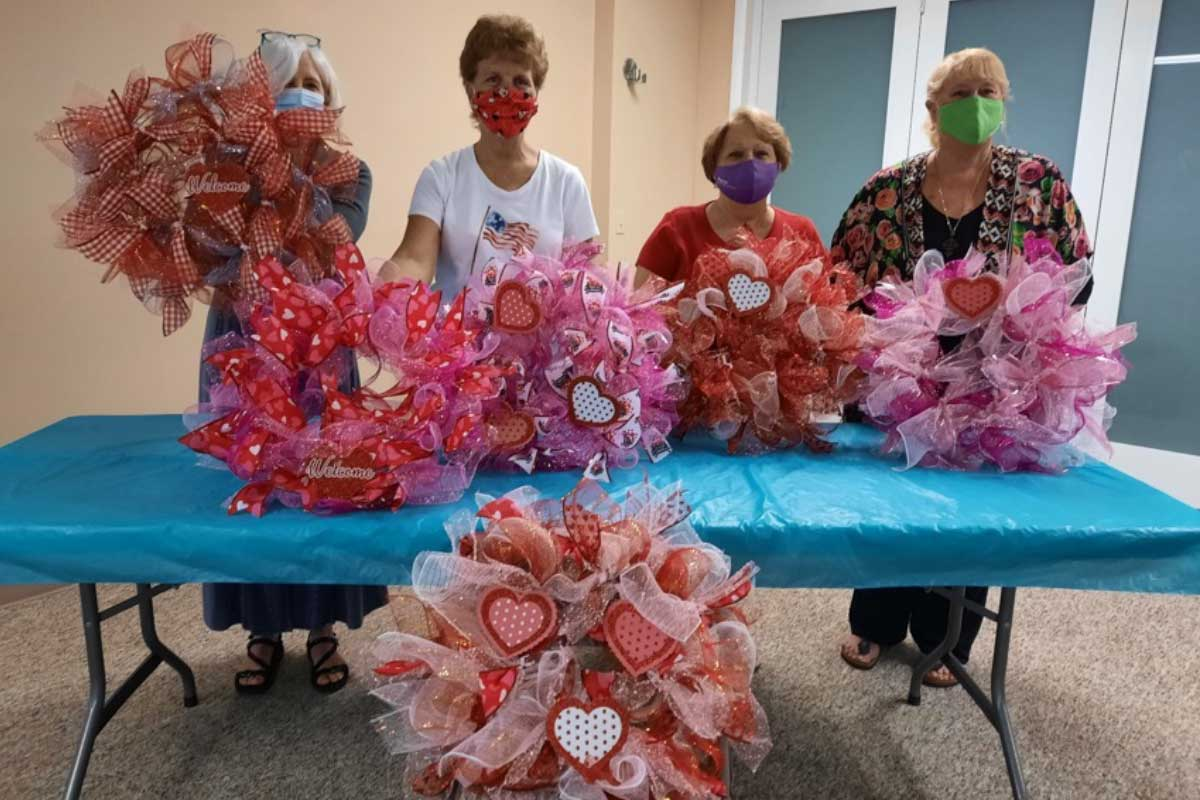 Senior Ministry Valentine Ribbon Wreath Making Event   Christus Victor Lutheran Church Naples & Bonita Springs