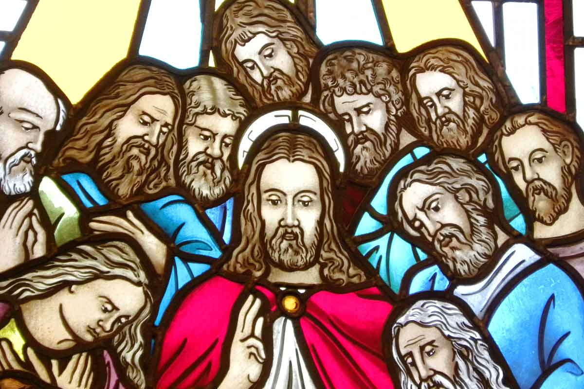 Stained glass window of Christ and his disciples at Christus Victor Lutheran Church Naples & Bonita Springs
