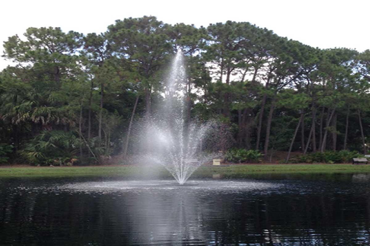 Rev. Thomas J. Slater Victory Park fountain and lake view   Christus Victor Lutheran Church Naples & Bonita Springs